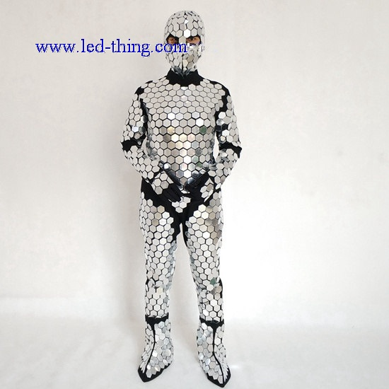 Fabulous Mirror Shiny Silver Costume Suit with Hookie, Gloves, Shoe Covers