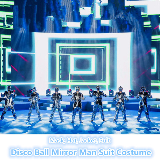 The Blinking Disco Ball Mirror Man Dance Suit Costume