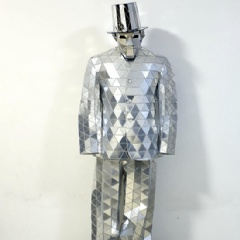 Shiny Silver Mirror Man Dance Suit