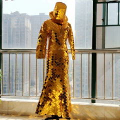 Golden Mirror Costume with Hat, Jacket, Dress