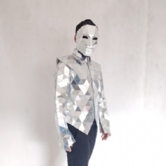 Shiny Mirror Suit, Vest With Long Sleeve
