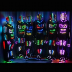 LED Digital Smart Pixel Neon Glow Robot Costume